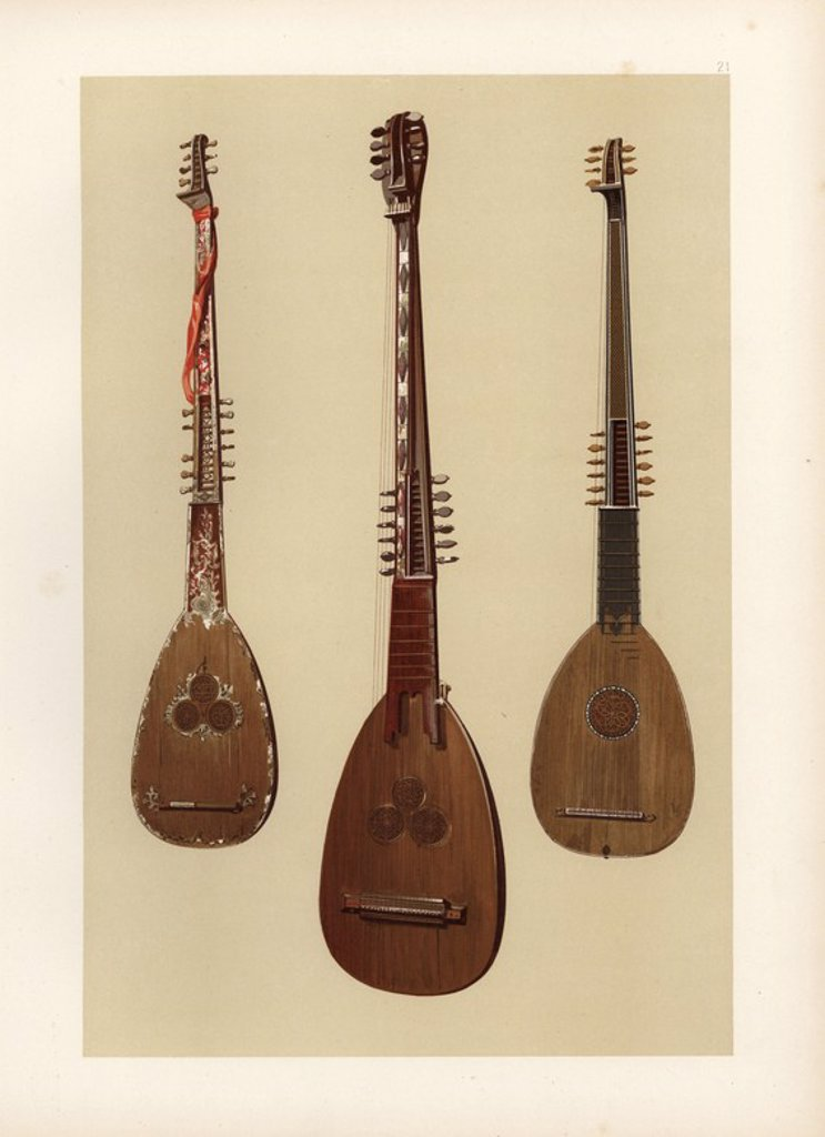 "Stock Photo: 4409-85112 Three chitarroni (theorbo or bass lute). Venetian chitarrone with inlaid mother of pearl (left), Venetian chitarrone from 1608 (centre), and one exhibited in 1885 by Edward Joseph of Bond Street with six pairs of unisons and seven diapasons (right). Chromolithograph from an illustration by William Gibb from A.J. Hipkins' ""Musical Instruments, Historic, Rare and Unique,"" Adam and Charles Black, Edinburgh, 1888. Alfred James Hipkins (1826-1903) was an English musicologist who specialized in the hi"