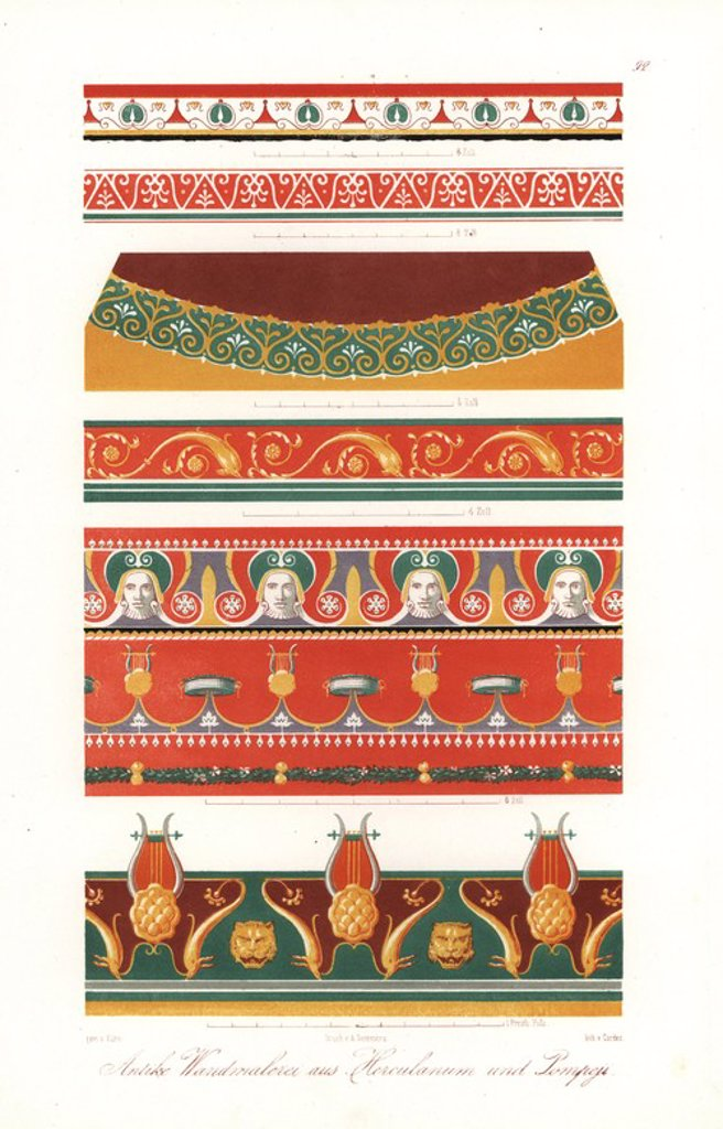 """Murals from Pompeii and Heraculaneum (circa 300BC to AD79): frieze with animal heads from the House of Castor and Pollux, frieze with dolphins from the Pantheon, etc. Handcoloured lithograph by Cordes from an illustration by Wilhelm Zahn in his own """"Ornamente aller klassischen Kunst-Epochen nach den Originalen in ihren eigenthumlichen Farben dargestellt"""" (Ornaments of all classical art epochs after the originals and depicted in their proper colours.), Dietrich Reimer, Berlin, 1870. It includes i : Stock Photo"""