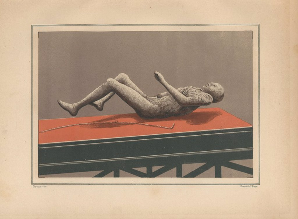"Stock Photo: 4409-85361 Plaster cast of a man's body from the Via Stabiana, now in the Museum of Pompeii. Illustration drawn by Discanno and lithographed by Victor Steeger from Emil Presuhn's ""Pompeji. Die Neuesten Ausgrabungen von 1874-1881,"" Weigel, Leipzig, 1882. German archeologist Presuhn (1844-1881) lived in Italy for eight years and, with Mr. Discanno and Miss Amy Butts, made exact copies of many wall paintings that are now lost."