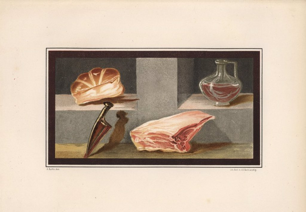 "Stock Photo: 4409-85374 Painting of a still life showing meat, wine, bread and a knife from the ala at house 16, Regio IX, Insula V. Illustration drawn by Discanno and lithographed by Victor Steeger from Emil Presuhn's ""Pompeji. Die Neuesten Ausgrabungen von 1874-1881,"" Weigel, Leipzig, 1882. German archeologist Presuhn (1844-1881) lived in Italy for eight years and, with Mr. Discanno and Miss Amy Butts, made exact copies of many wall paintings that are now lost."