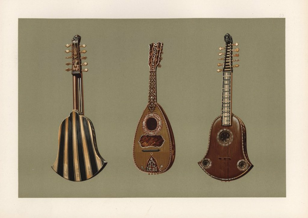 "Stock Photo: 4409-85457 Ten-string Quintena or Chiterna (Italian guitar) in tortoiseshell with a back of ebony and ivory, manufactured by Joachim Tielke of Hamburg in 1676 (left and right), and mandoline lute in tortoiseshell and mother-of-pearl by Domenico Vinaccia of Naples in 1780 (centre). Chromolithograph from an illustration by William Gibb from A.J. Hipkins' ""Musical Instruments, Historic, Rare and Unique,"" Adam and Charles Black, Edinburgh, 1888. Alfred James Hipkins (1826-1903) was an English musicologist who"