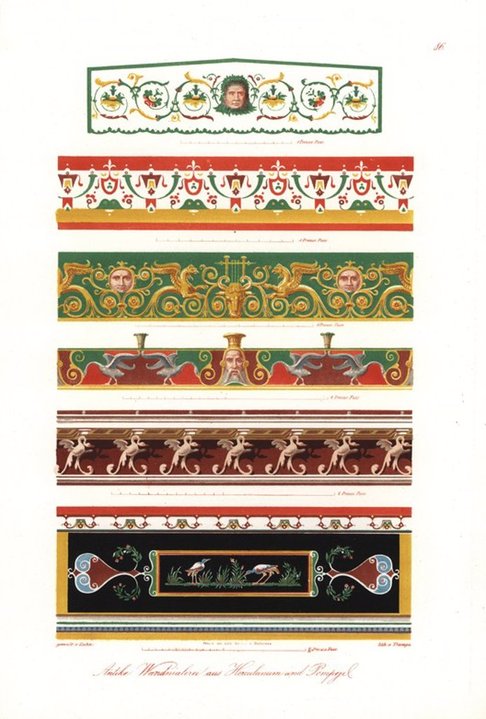 """Stock Photo: 4409-85493 Murals from Pompeii and Heraculaneum (circa 300BC to AD79): friezes from the House of Castor and Pollux, the House of the Tragic Poet, etc. Handcoloured lithograph by Brose from an illustration by Wilhelm Zahn in his own """"Ornamente aller klassischen Kunst-Epochen nach den Originalen in ihren eigenthumlichen Farben dargestellt"""" (Ornaments of all classical art epochs after the originals and depicted in their proper colours.), Dietrich Reimer, Berlin, 1870. It includes interior decorations by Giuli"""