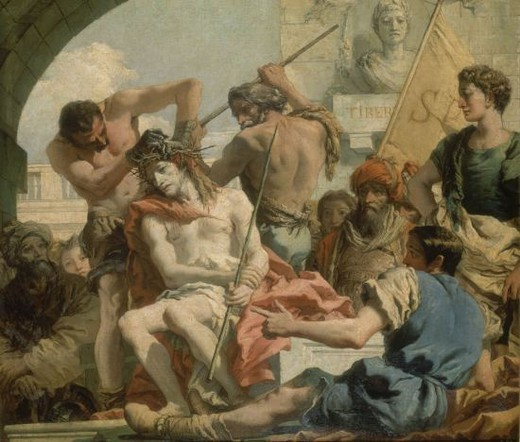Stock Photo: 4409-8642 LA CORONACION DE ESPINAS - 1772 - OLEO/LIENZO -  124x144 cm - BARROCO ITALIANO - NP 357. Author: TIEPOLO, GIOVANNI DOMENICO. Location: MUSEO DEL PRADO-PINTURA, MADRID, SPAIN.