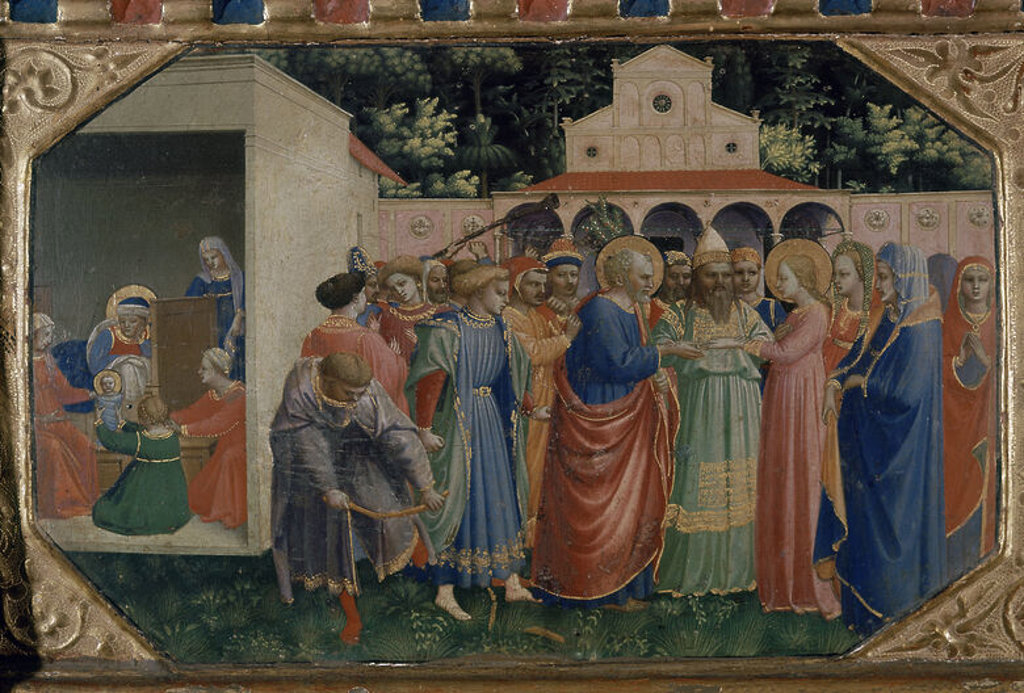 LA ANUNCIACION - DET DE LA PREDELA: DESPOSORIOS DE LA VIRGEN - HACIA 1426 - TEMPERA/TABLA - ESCUELA ITALIANA - NP 15 - Conj 6994. Author: FRA ANGELICO. Location: MUSEO DEL PRADO-PINTURA, MADRID, SPAIN. : Stock Photo
