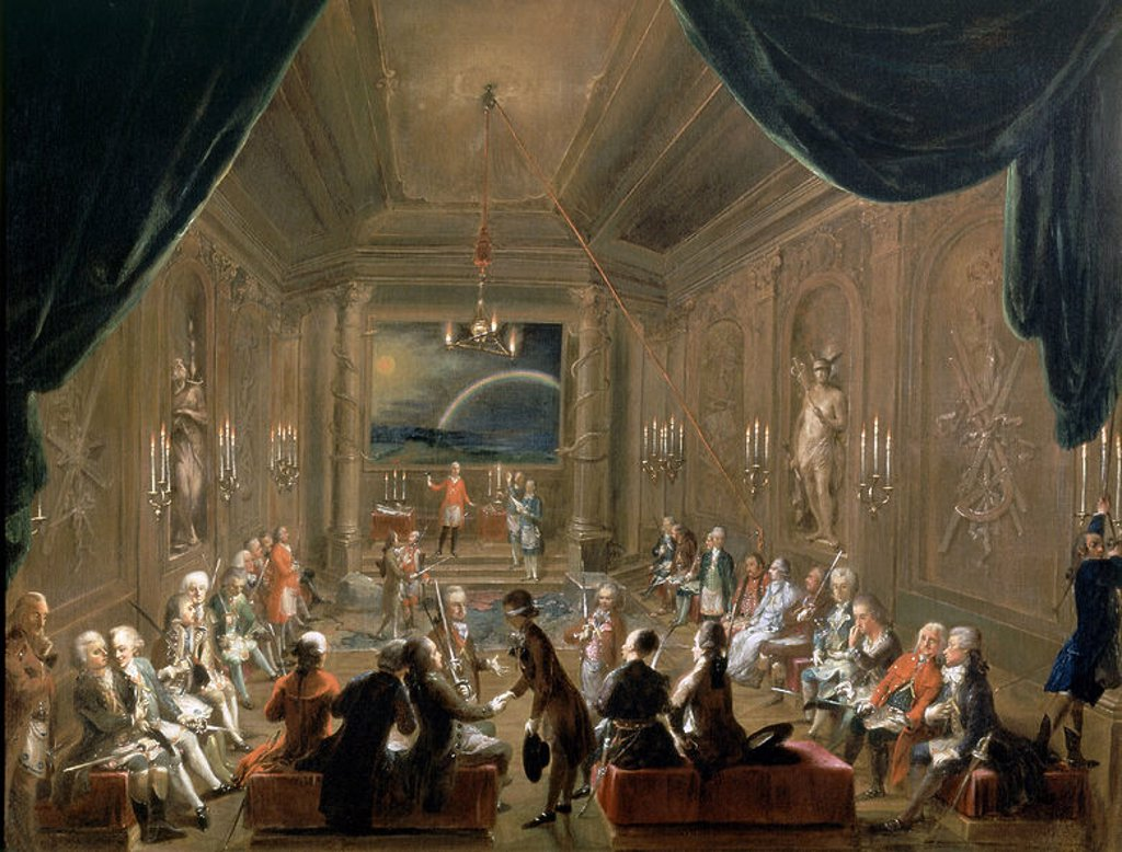 Masonic music. Mozart seated on the right. 18th century. Vienna, Kunsthistorisches Museum. Location: KUNSTHISTORISCHES MUSEUM / MUSEO DE BELLAS ARTES, WIEN, AUSTRIA. : Stock Photo