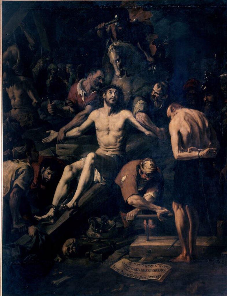 PREPARATIVOS PARA LA CRUCIFIXION DE CRISTO - SIGLO XVII. Author: RIBALTA, JUAN. Location: MUSEO DE BELLAS ARTES-COLEGIO PIO V, VALENCIA, SPAIN. : Stock Photo