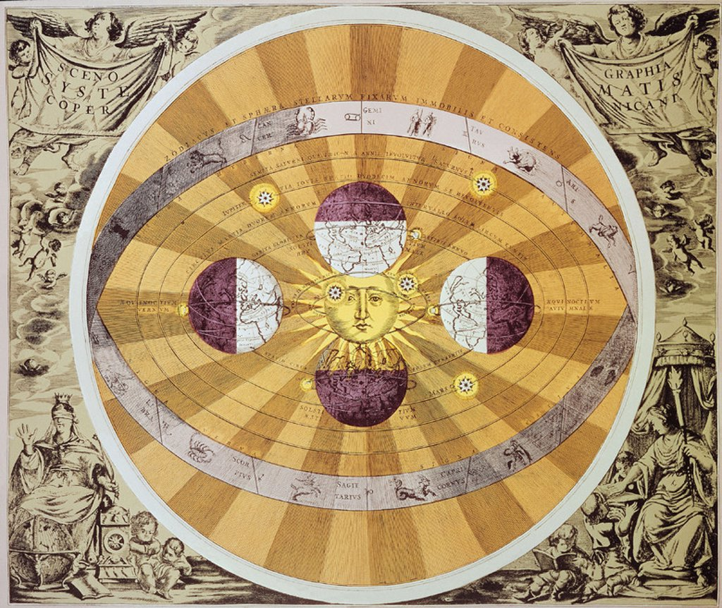 Formulation of a heliocentric theory of the solar system of Nicolaus Copernicus (1473-1543). 15th century. Paris, private collection. Author: COPERNICUS, NICOLAUS. Location: PRIVATE COLLECTION, PARIS, FRANCE. : Stock Photo