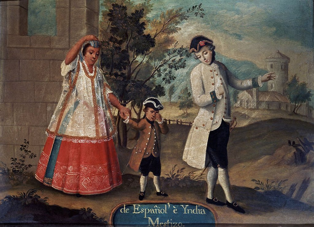 Stock Photo: 4409-9474 Mixity: Of Spain and India. 18th century. Copperplate painting (48 x 36 cm). Madrid, museum of America. Author: ANONYMOUS. Location: MUSEO DE AMERICA-COLECCION, MADRID, SPAIN.
