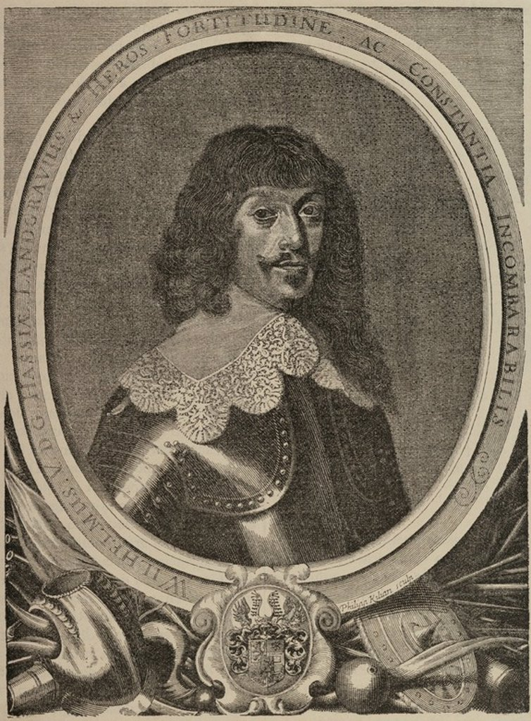William V of Hesse-Kassel (1602-1693). Landgrave of Hesse-Kassel. Engraving by Philiph Kilian (1628-1693). Facsi_mil. The Universal History, 1885. : Stock Photo