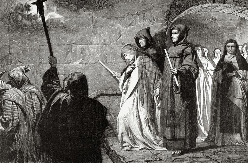 """Stock Photo: 4409-96373 Herrada de Landsberg (1130-1195). Escritora, religiosa alsaciana y abadesa de la abadía de Hohenburg, en los montes Vosgos. Autora de la enciclopedia pictórica Hortus deliciarum (El Jardín de las Delicias). La ruptura del voto de castidad era castigada con duras penas que la monja criticó. """"Emparedamiento de una monja"""". Grabado por H. Kaeseberg. """"Germania"""", año 1882. Herrada de Landsberg Nació Hacia el Año 1130 en el castillo de Landsberg, en la región del Bajo Rhin, en el seno de Una Familia no"""