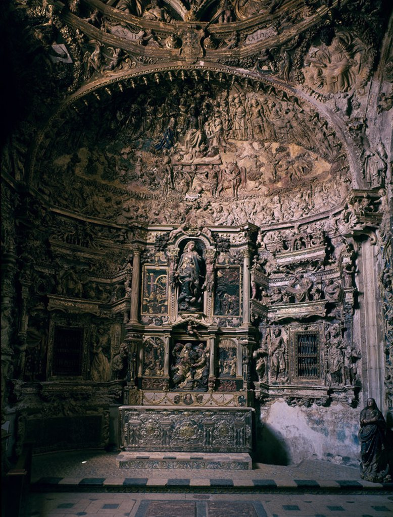 INTERIOR-CAPILLA DE LOS BENAVENTE-. Author: JUNI, JUAN DE. Location: MARIENKIRCHE, MEDINA DE RIOSECO, VALLADOLID, SPAIN. : Stock Photo