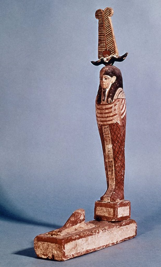 ESTATUILLA DE PTAH-SOKARIS-OSIRIS - 664-342 AC - ARTE EGIPCIO - MADERA PINTADA - 59x11,5 cm. Location: MUSEO ARQUEOLOGICO NACIONAL-COLECCION, MADRID, SPAIN. : Stock Photo
