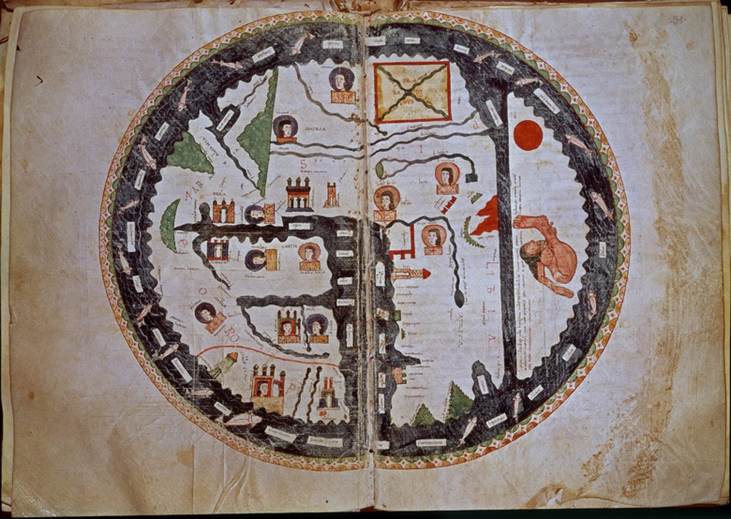 Stock Photo: 4409-9805 World map the from the Commentary on the Apocalypse.. Codex 1, folio 34V-35. Province of Soria, El Burgo del Osma cathedral. Author: BEATO DE LIEBANA. Location: CATEDRAL-BIBLIOTECA, BURGO DE OSMA, SORIA, SPAIN.