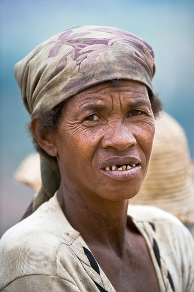 Elderly Malagasy woman of Betsileo Tribe near Ambositra, Central Highlands, Madagascar : Stock Photo