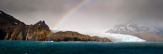 Stock Photo: 4410-1998 Rainbow over Fortuna Glacier, South Georgia Island