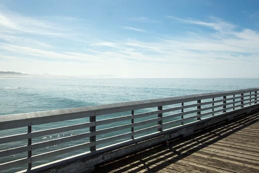 California, USA,Wooden Pier Over The Ocean : Stock Photo