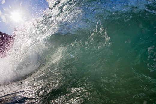 Stock Photo: 4411-4944 Wave Breaking Into Barrel Close-Up Water Shot,El Morro Bay, Laguna Beach, California, USA
