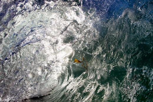 Wave Breaking Into Barrel Close-Up Water Shot,El Morro Bay, Laguna Beach, California, USA : Stock Photo