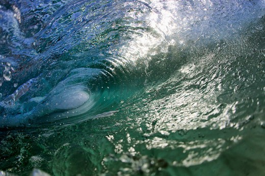 Stock Photo: 4411-4994 Wave Breaking Into Barrel Close-Up Water Shot,El Morro Bay, Laguna Beach, California, USA