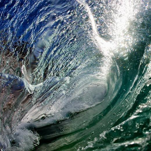 Stock Photo: 4411-5002 Wave Breaking Into Barrel Close-Up Water Shot,El Morro Bay, Laguna Beach, California, USA