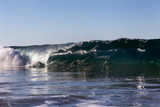 Stock Photo: 4411-5603 Wave Breaking In Morning Light,El Morro Bay, Laguna Beach, California, USA