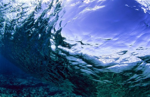 Stock Photo: 4411-8611 Contemporary,underwater view of wave breaking with sun light