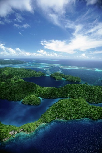 Melekeok, Micronesia,Aerial view over the Rock Islands Palau, Micronesia : Stock Photo