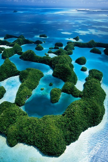Stock Photo: 4411-9357 Melekeok, Micronesia,Aerial view  over over the Rock Islands , Palau
