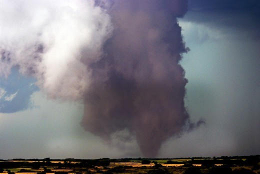 Stock Photo: 4412-1015 Large violent tornado near the Texas and Oklahoma border, USA