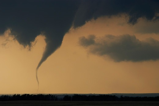 Stock Photo: 4412-1021 Violent tornado sweeps across NW Oklahoma, USA near the town of Arnett. Part of a tornado outbreak on May 4, 2007 that killed over 12, people including a massive F5 tornado that hit Greensburg, Kansas, USA