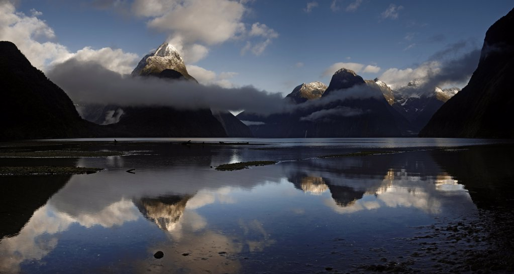 The fjord of Milford Sound in South Island after the storm : Stock Photo