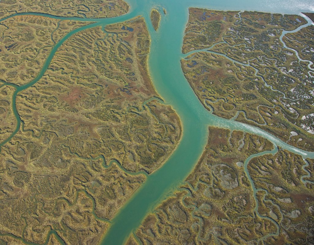 Aerial view of the marshes of Odiel in Huelva Spain : Stock Photo