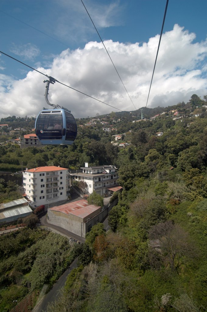 Urban cable car connecting Funchal and the district of Monte : Stock Photo
