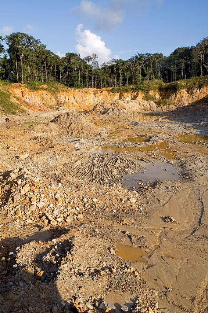Stock Photo: 4413-13226 Quartz mine exploited in French Guiana