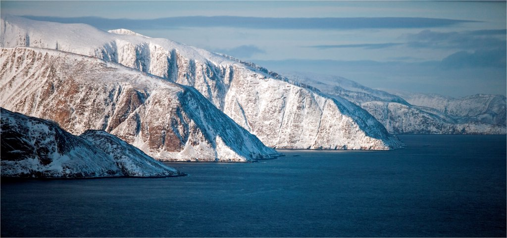 Stock Photo: 4413-132814 Meta Incognita Peninsula in the snow on Baffin Island Canada