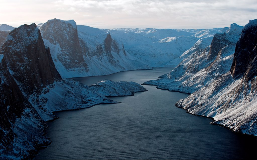 Stock Photo: 4413-132815 Fjord Meta Incognita Peninsula Baffin Island Canada