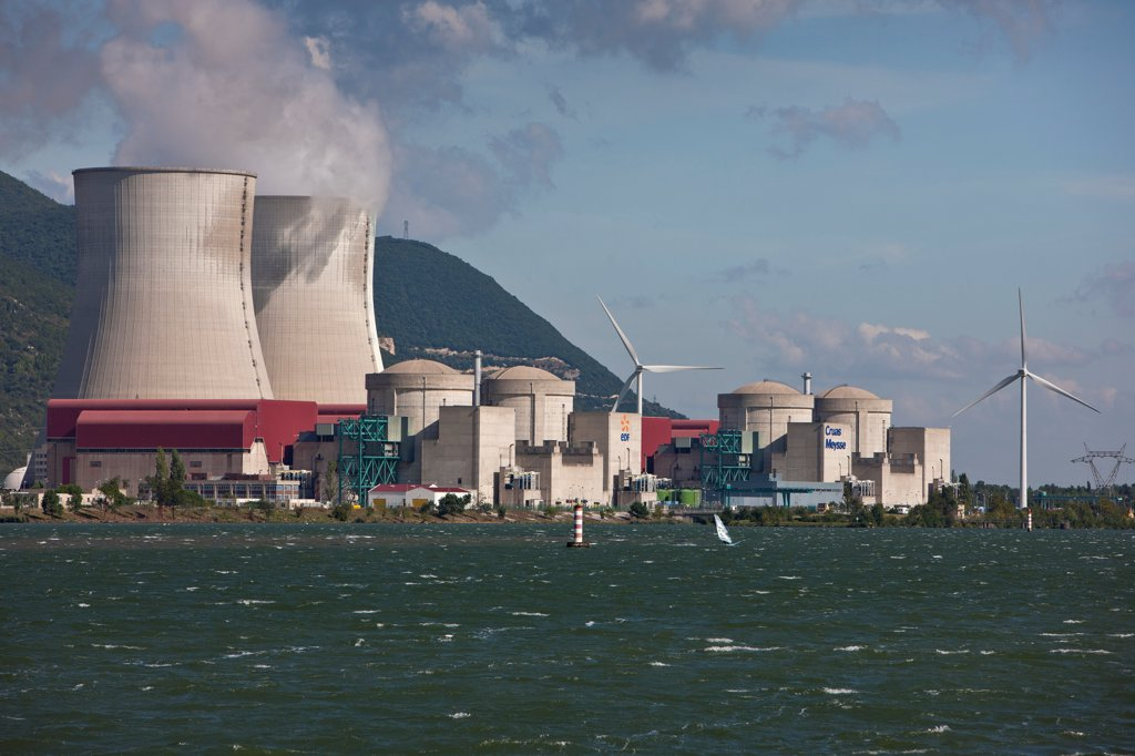 Stock Photo: 4413-134558 NPP Cruas on the Rhone France