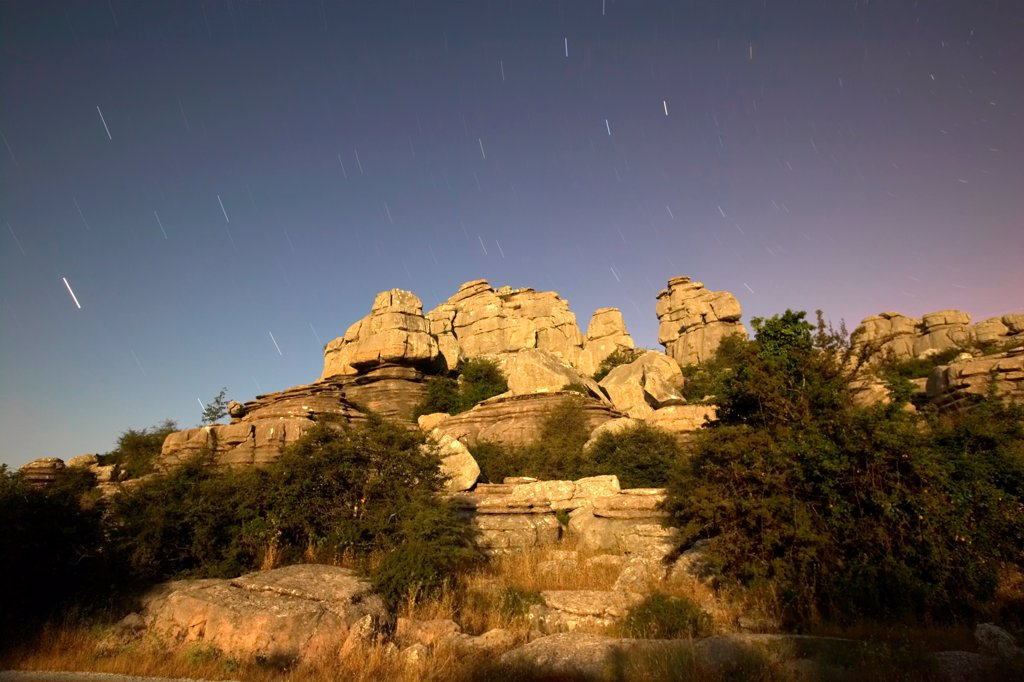 Torcal de Antequera by night Spain : Stock Photo