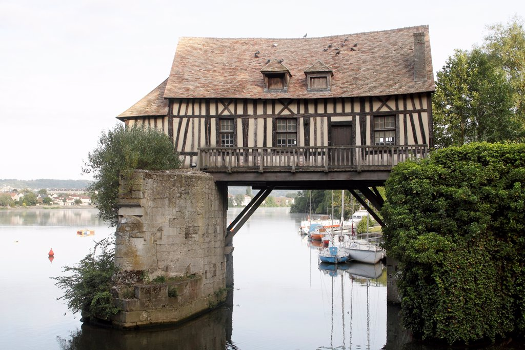 Stock Photo: 4413-169877 Sixteenth-century old mill on the Seine at Vernon France