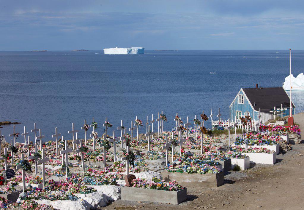 Village cemetery Upernavik Greenland : Stock Photo