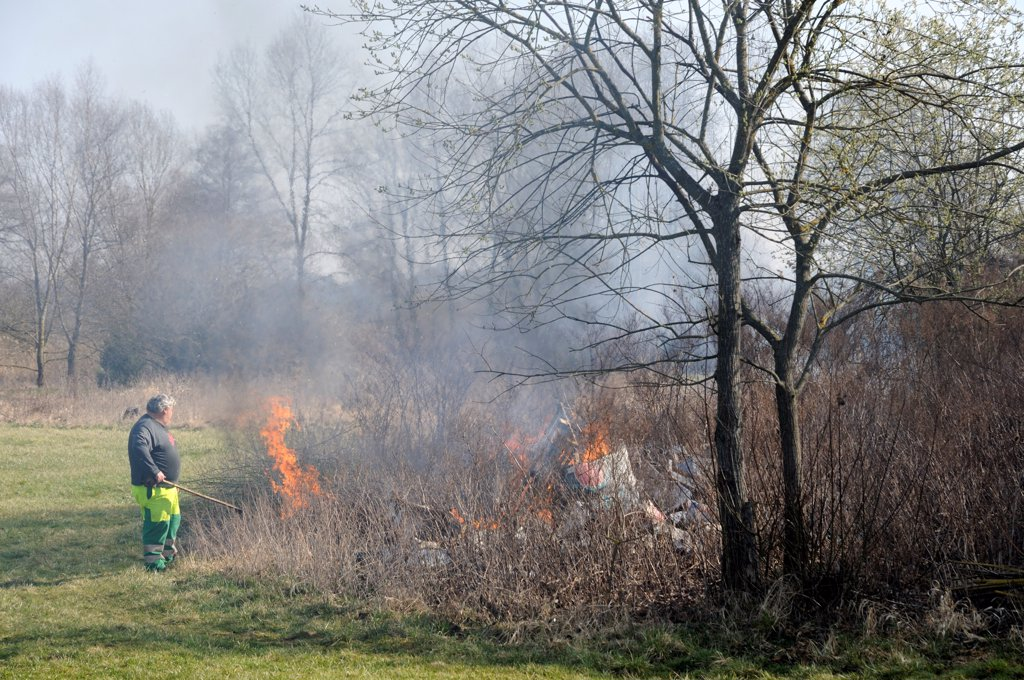 Stock Photo: 4413-197093 Burned garbage in nature Franche-Comté France