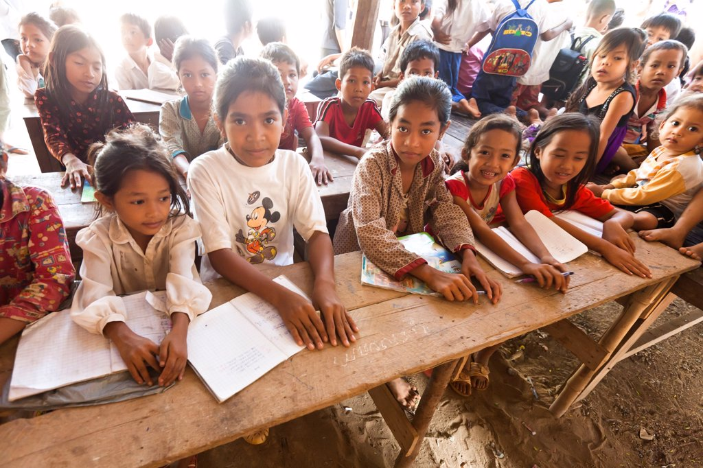 Stock Photo: 4413-197452 School of countryside north of Phnom Penh Cambodia