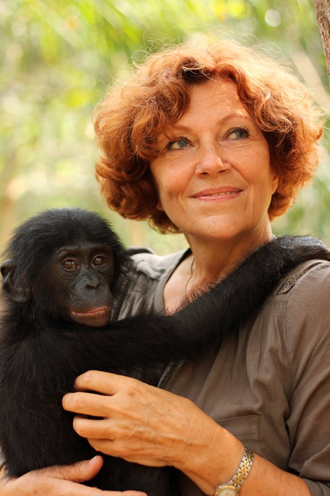Claudine André with a young Bonobo in the arms : Stock Photo