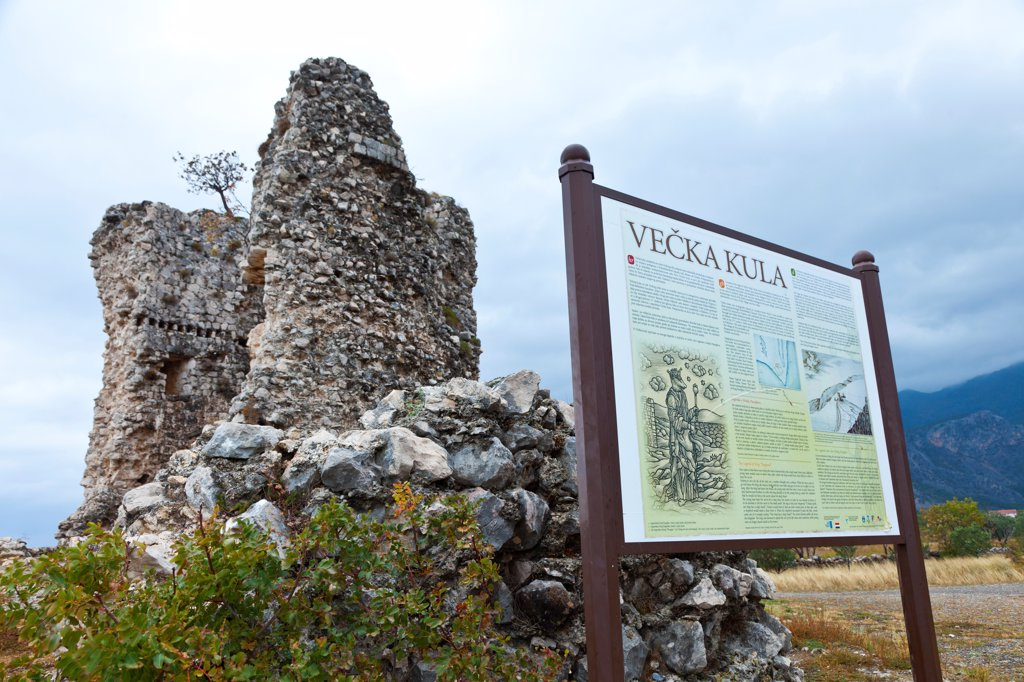 Stock Photo: 4413-200434 Ruins of Vecka tower in the Paklenica NP Croatia