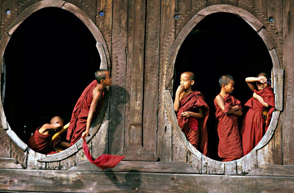 Stock Photo: 4413-202274 Young buddhist monk at monastery Nyaungshwe Burma
