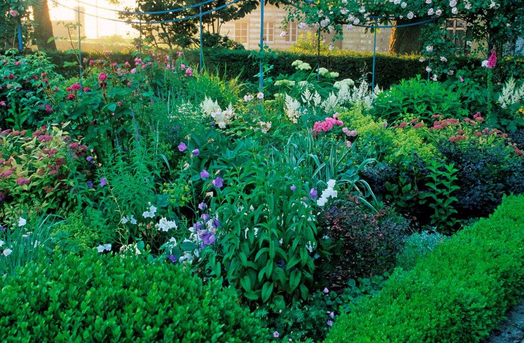 Stock Photo: 4413-20578 Courtyard in flower Maizicourt gardens France