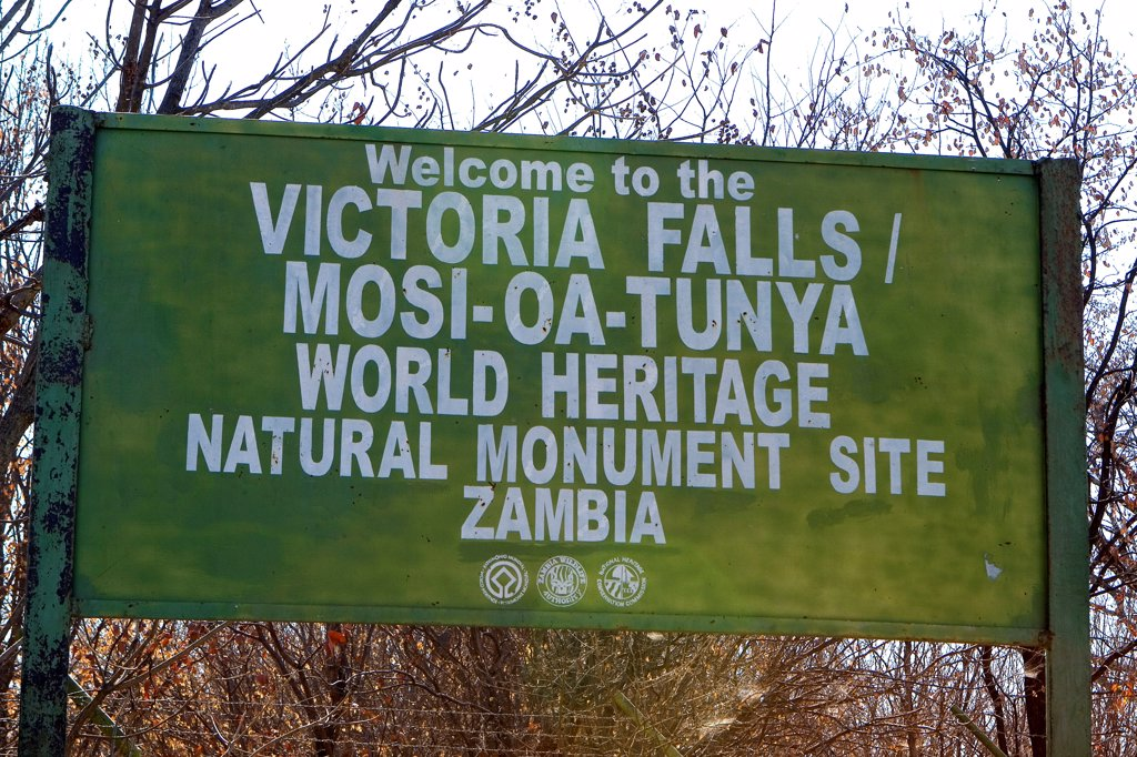 Stock Photo: 4413-209546 Panel for welcome to the Victoria Falls Zambia