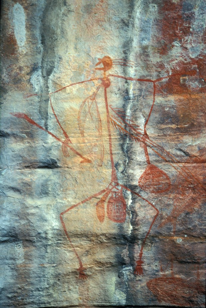 Prehistoric drawing of a man with his weapons Australia : Stock Photo