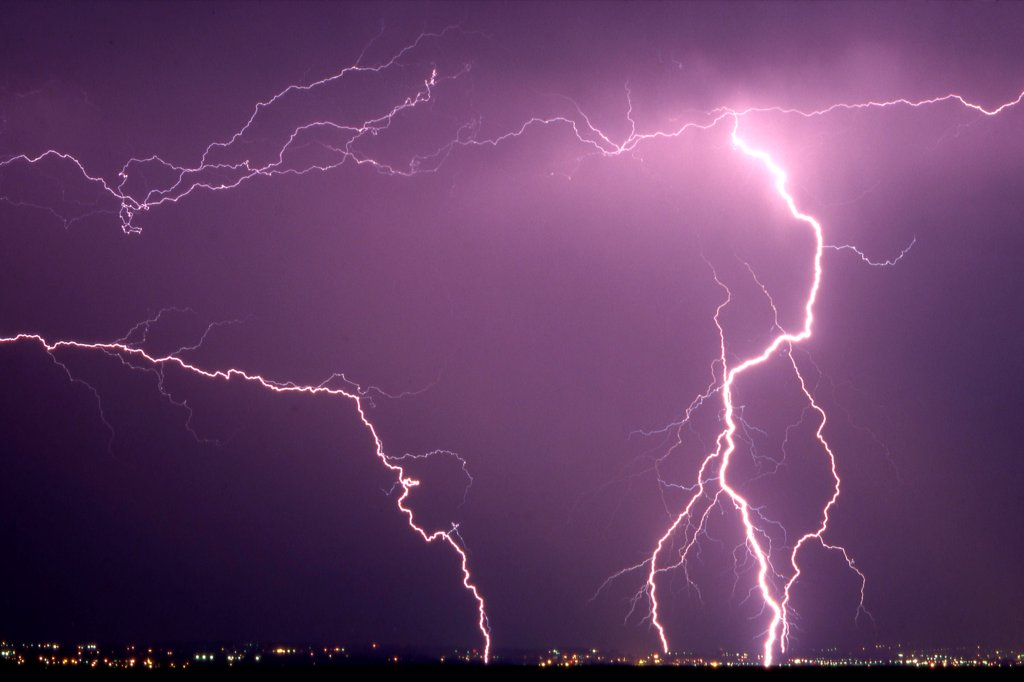 Storm causing lightning on Lake Leman France : Stock Photo