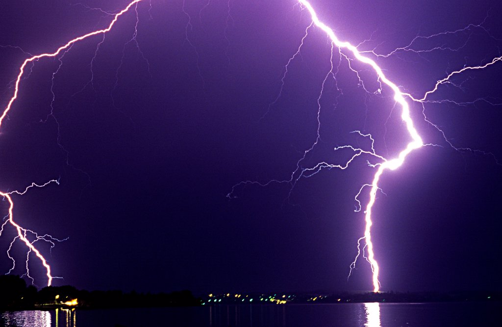Stock Photo: 4413-31475 Storm causing lightning on Lake Leman France